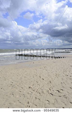 Baltic sea beach on a stormy summer day in Ustka, Poland.