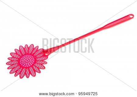red fly swatter on a white background