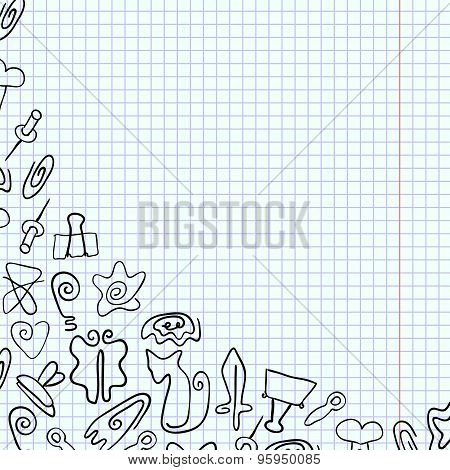 Doodle paper clips of various shapes drawn on a school notebook