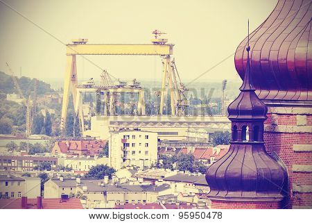 Retro Postcard From Szczecin, Historic Building And Industrial Background.
