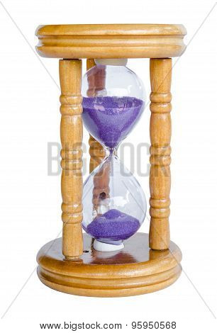 Wood Hour-glass With Violet Sand.