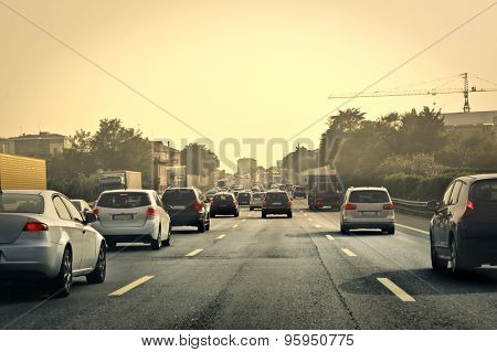 Traffic congested road
