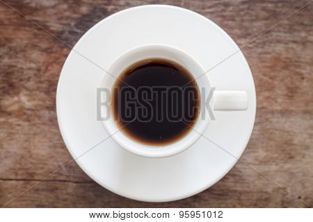 Top View Of Cup Of Fresh Espresso On Table