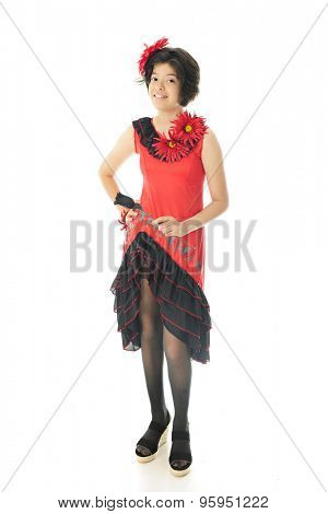 A beautiful young teen in a red and black dance dress to celebrate Cinco de Mayo.  On a white background.
