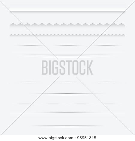 Set Of Horizontal Web Dividers Design Elements. Vector Illustration