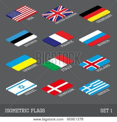 Set Of 12 Flat Isometric Vector Flags