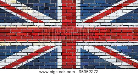 Grunge Flag Of Great Britain On A Brick Wall
