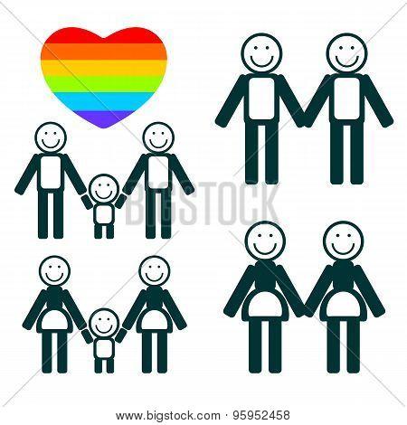 gay family symbols set