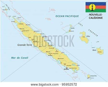New Caledonia Map With Flag