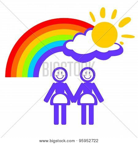 woman couple and rainbow