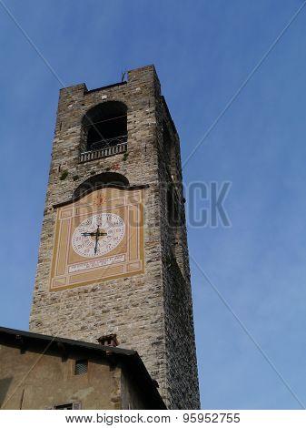 The campanile with the clock of Bergamo