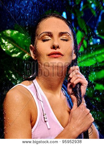 Wet woman with long hair on  water drop. Nature.