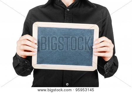 Female Hand Holding A Blank Billboard On White Background