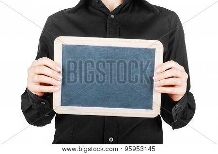 Female Hand Holding A Blank Billboard On White Background