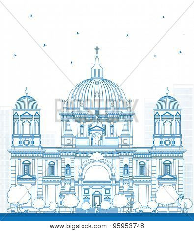 Outline Berlin Cathedral in Berlin, Germany. Vector Illustration