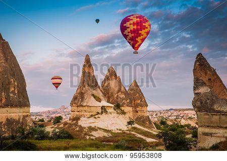 hot air balloon trip flying over Cappadocia
