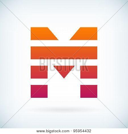 Stripes Letter M Icon Design Element Template