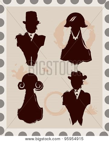 Set Of 4 Male And Female Isolated Stamps