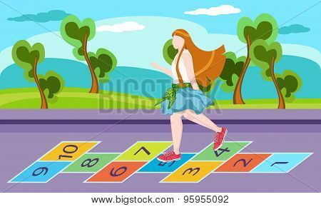 Little Girl On Playground, Playing Hopscotch Game