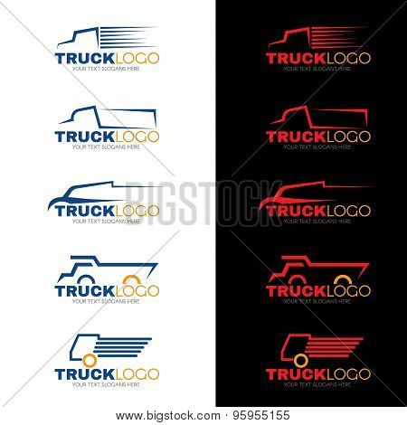 5 style blue red and yellow truck logo vector design
