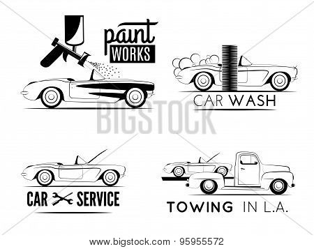 Set of car service labels