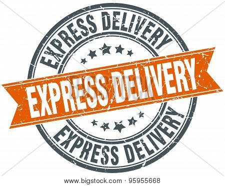 Express Delivery Round Orange Grungy Vintage Isolated Stamp