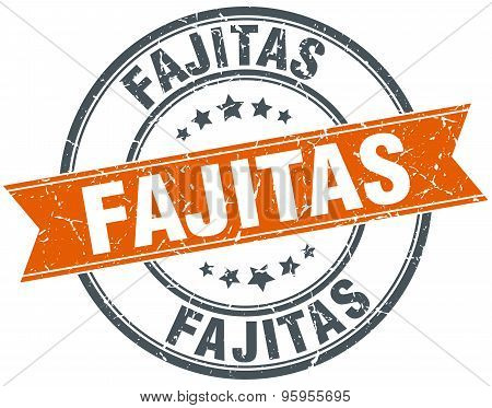 Fajitas Round Orange Grungy Vintage Isolated Stamp