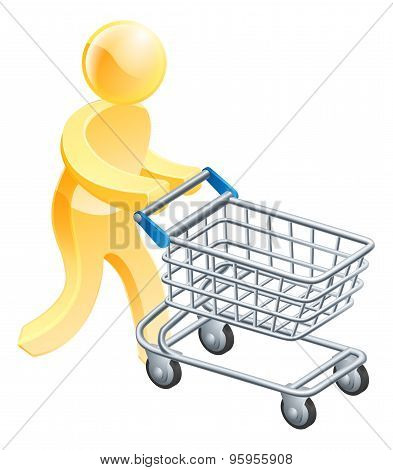 Shopping Trolley Gold Man