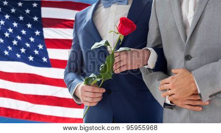 people, homosexuality, same-sex marriage, travel and gay love concept - close up of happy male gay couple with red rose flower holding hands on wedding over american flag background