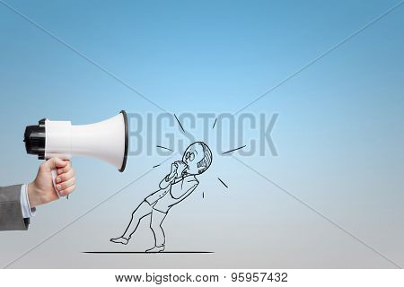 Boss using megaphone yelling at his employee