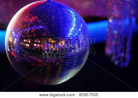 Disco ball at nightclub. Party background. Selective focuse