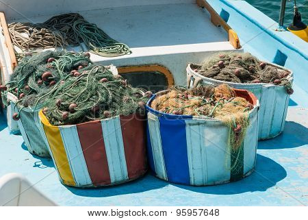 Fishing Nets And Floats In Baskets After Fishing.
