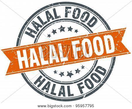 Halal Food Round Orange Grungy Vintage Isolated Stamp