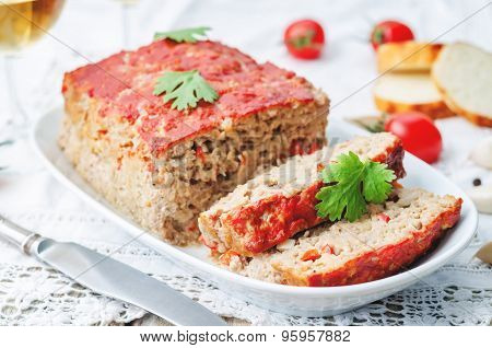Meatloaf With Onion, Pepper And Garlic