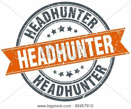 Headhunter Round Orange Grungy Vintage Isolated Stamp
