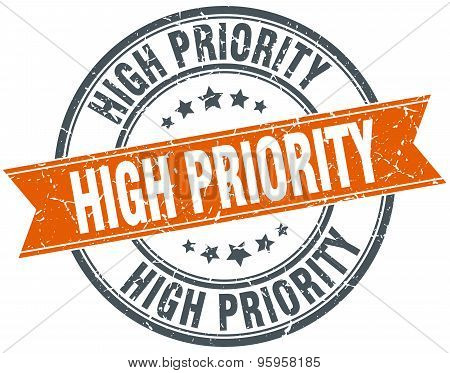 High Priority Round Orange Grungy Vintage Isolated Stamp