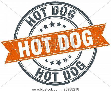 Hot Dog Round Orange Grungy Vintage Isolated Stamp