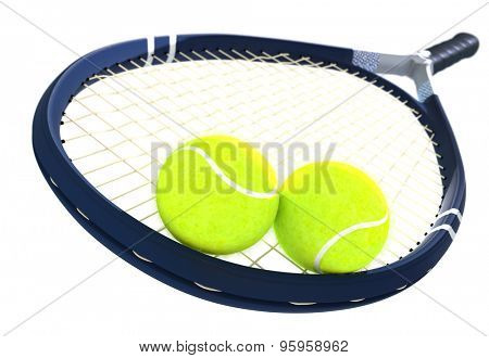 Two tennis balls and racket on isolated.