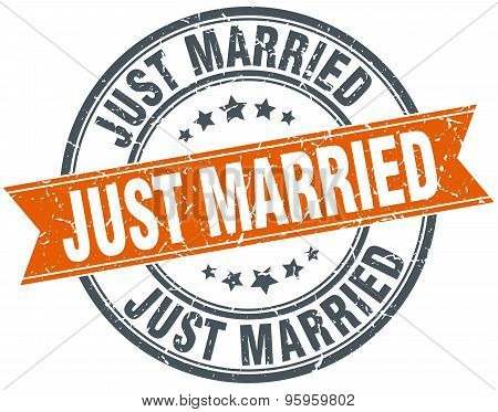Just Married Round Orange Grungy Vintage Isolated Stamp