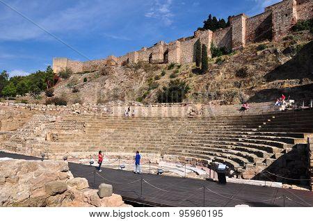 Roman Theatre near Malaga Alcazaba castle on Gibralfaro mountain Andalusia Spain