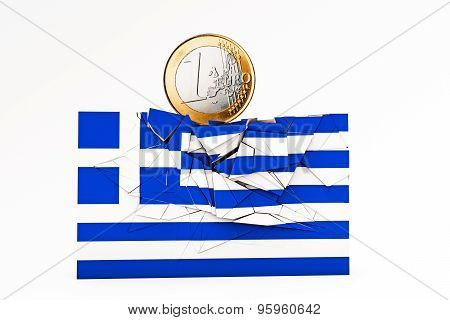 Greek Flag Flag Crashed