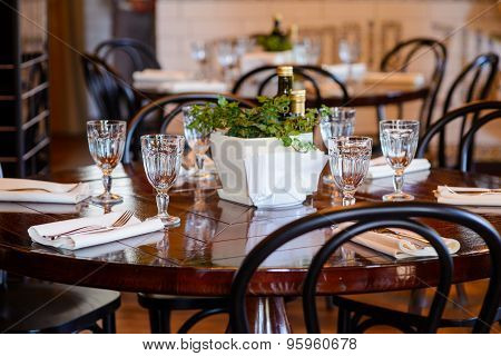 Dining table at restaurant