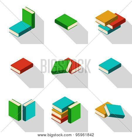 Set Of Stacks Of Multi Colored Books With Shadow
