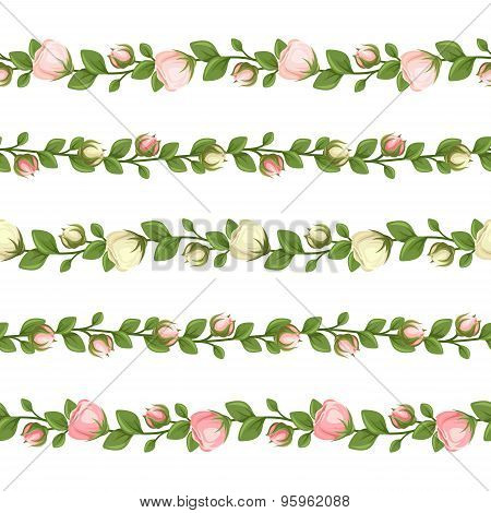 Set of horizontal seamless garlands with pink and white flowers. Vector illustration.