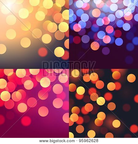Set Of Vector Realistic Abstract Background With Blurred Defocused Colorful Bokeh Lights
