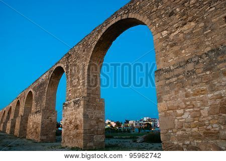 Aqueduct Kamares Larnaca At Sunset