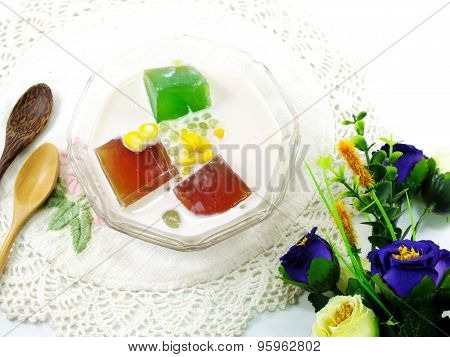Fresh Milk Tofu With Jelly And Fruit