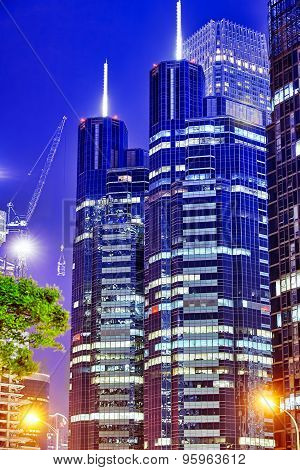 Evening, Night Modern Beijing Business Quarter Of The Capital, The Streets Of The City With Beautifu