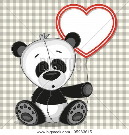 Panda With Heart Frame