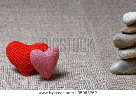 Two Red Hearts And Column Of Stones